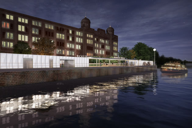 Architect\'s illustration of Harrods Wharf View From River Looking South. Credit: Lifschutz Davidson Sandilands
